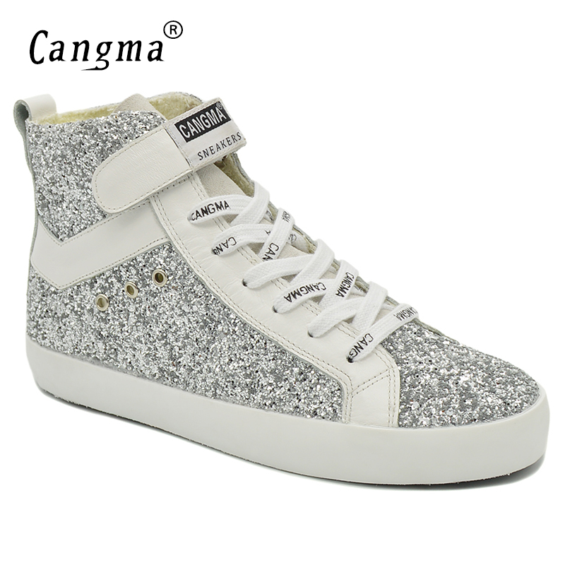 CANGMA Luxury Brand Sneakers Women Glitter Shoes Woman's Boots Genuine Leather Female Ankle Boots Handmade Silver Casual Shoes cangma italy deluxe brand women men casual golden shoes zebra silver genuine leather low sstar smile goose shoes zapatos mujer