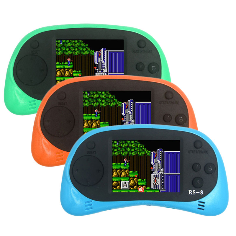 RS-8 Video Game Console 8 Bit 2.5 inch Portable Handheld Game Player Tetris Built-in 260 Different Games Children's Game Color