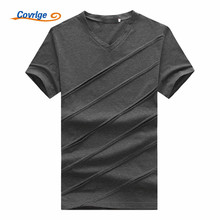 Covrlge 2018 Brand Mens Tshirt High Quality British Style Cotton Short Sleeve T Shirt Casual V-neck Slim T-Shirts MTS474
