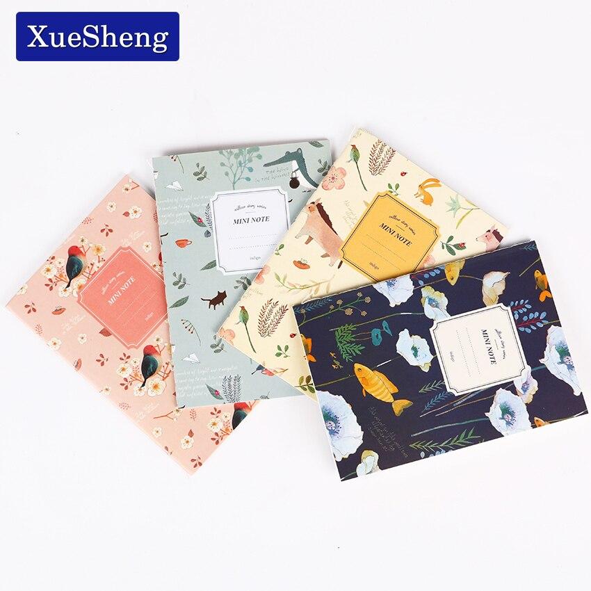 Купить с кэшбэком 4 PCS/Set Cute Kawaii Cartoon Animal Notebook Lovely Flower Notepad for Kids Student Gift Korean Stationery