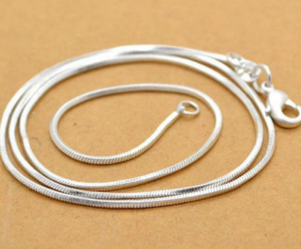 1MM 925 Sterling Silver Snake Chain  Necklace Statement Jewelry Women sterling chokers Fashion Accessories