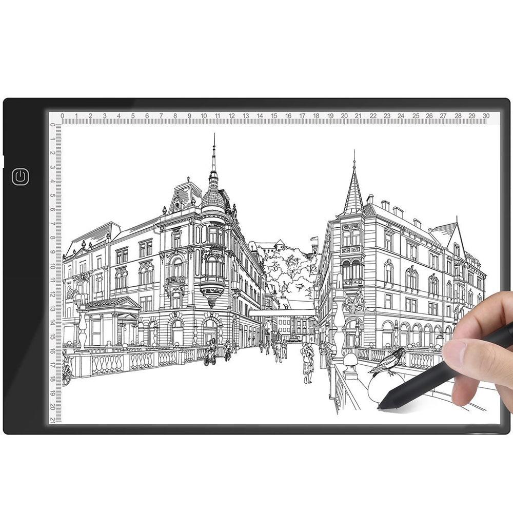Nuevo A4 Ultra-delgado portátil caja de luz LED trazador USB potencia LED Artcraft de luz de caja de luz para artistas dibujo