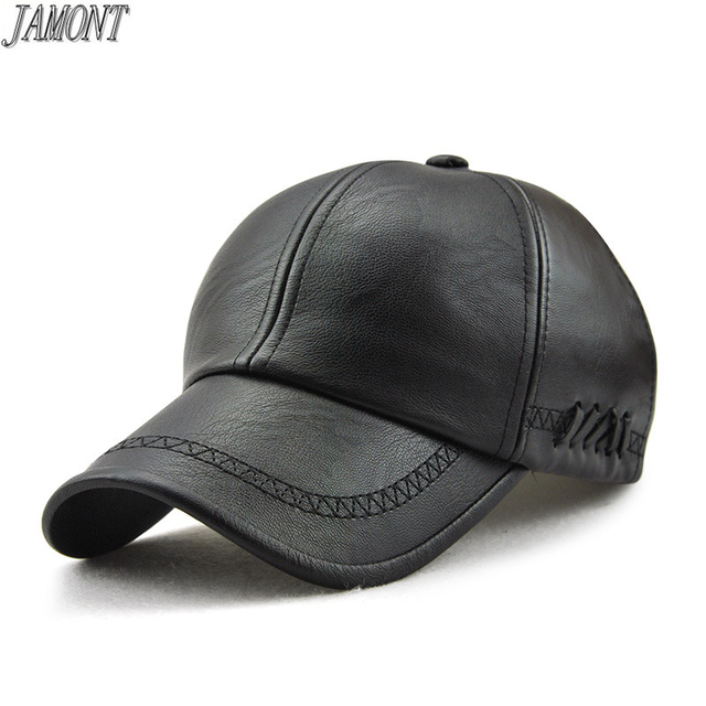 2018 Autumn and winter PU leather baseball cap for men leisure snapback hat  Fashion outdoor warm cd1202d05bd6