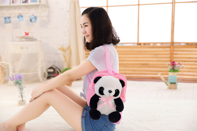 hot-sale plush backpack toy kawaii stuffed animals panda toys for babies cute gifts for girls girlfriend mother pillow wholesale