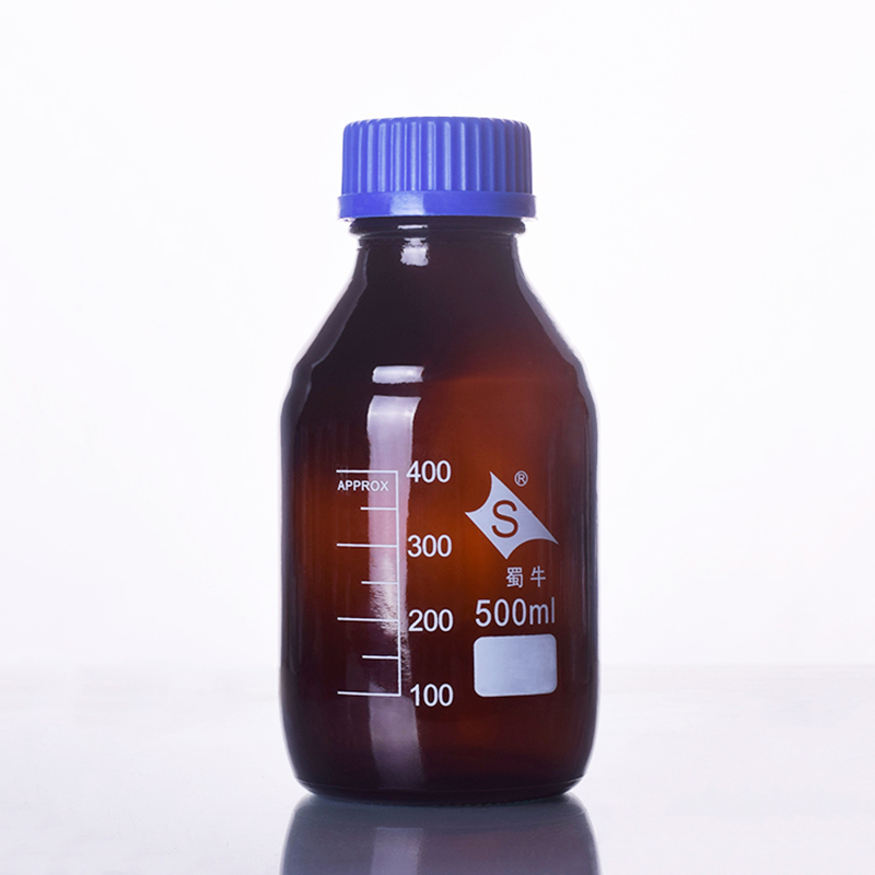 Brown reagent bottle,With blue screw cover,Normal glass,Capacity 500ml,Graduation Sample Vials Plastic Lid