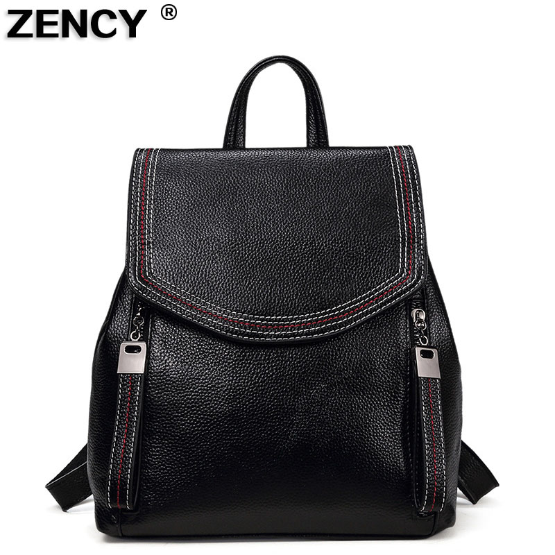 ZENCY Classic 100% Genuine Leather Women Daily Backpack Real First Layer Cow Leather Ladies Backpacks Travel Cowhide Female Bags