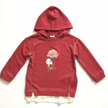 2-9 Years Girl's Casual Long Sleeve Hooded Hoodies Lace stitching Female Child Flower PrintedCotton Sweatershirt Red A0073