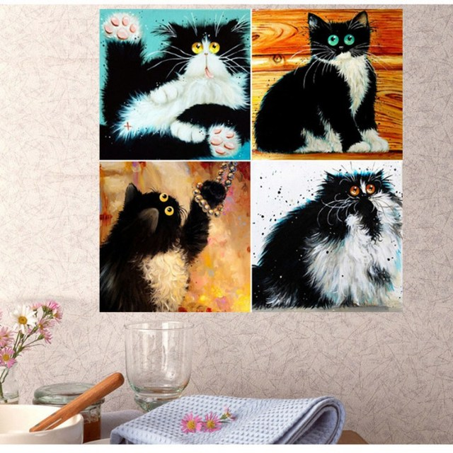 5D Diamond Flowers Owl Cats Handmade Diamond Painting Cross Stitch Kits Diamond Embroidery Patterns Rhinestones Arts