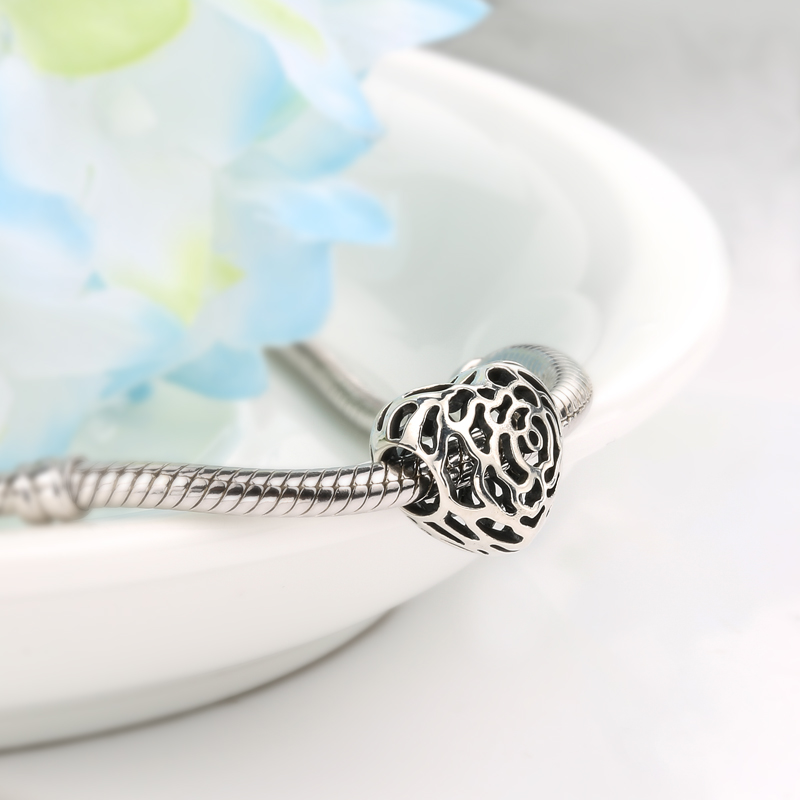 925 Sterling Silver Hollow Love Heart Rose Pattern Beads Fit Original pandora Charms Bracelet Fashion DIY Jewelry for women in Beads from Jewelry Accessories