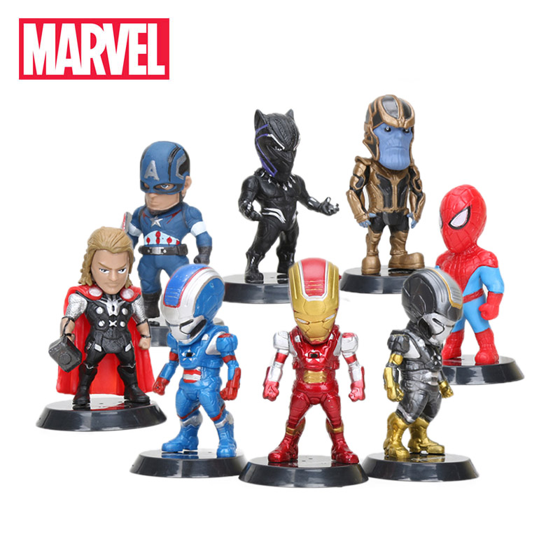 Pack of 8 Marvel Toys 10cm Avengers Infinity War Thanos Ironman Black Spiderman Hulk Black Panther PVC Action Figures Model(China)