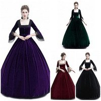 Adult Women Marie Antoinette Queen Costume Victorian Velvet Square Collar Long Ball Gown Dress Palace Party Clothing For Ladies