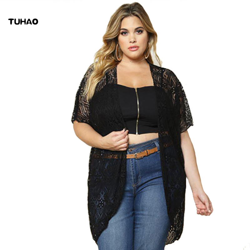 TUHAO sexy black Lace Blouse Summer 2019 New autumn Fashion office lady Cardigan Casual Loose Blouses Women Tops Clothing BC98
