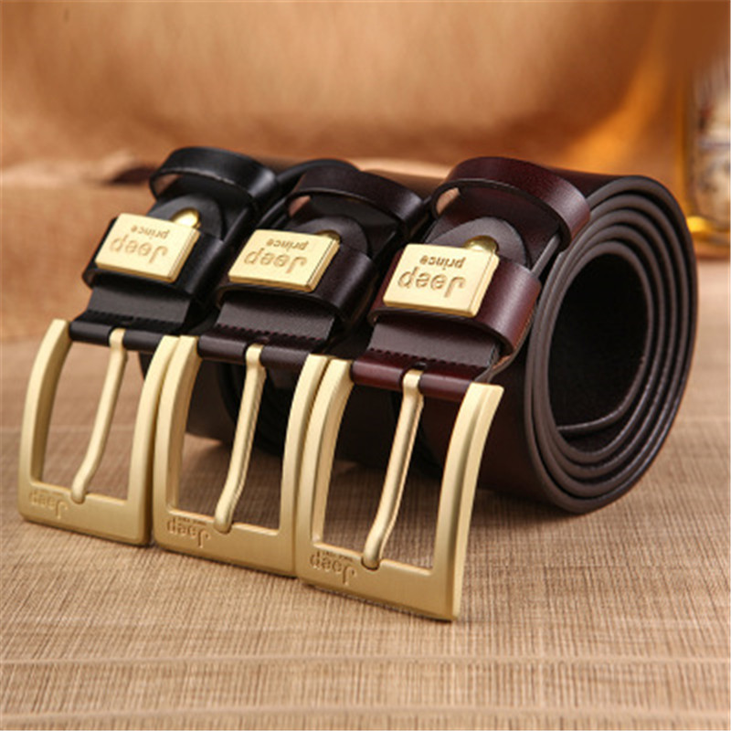 Men's Belt Jeep Letter Male Belt Retro Style New Pin Buckle Genuine Leather Belts Alloy Cow Leather Soft Men's Belt Luxury Brand