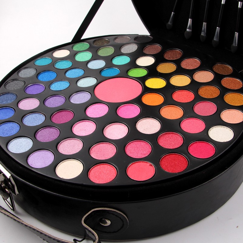 65colors/Box Eyeshadow Palette for Drawing Your Subtle Pink Eye shadow Loose Wavy Hair Dark Pink Lipstick Cheeks Blush Nude Nail shadow heir dark swan 4