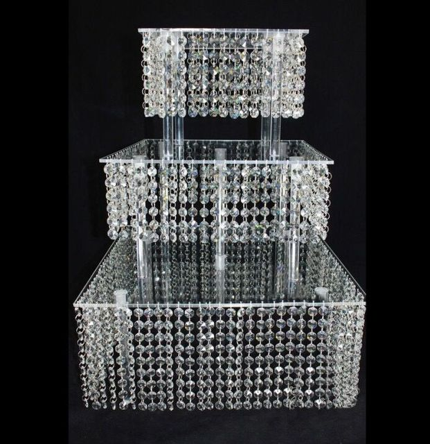 5sets Lot 3 Tier Crystal Cake Stand Square Acrylic Cupcake