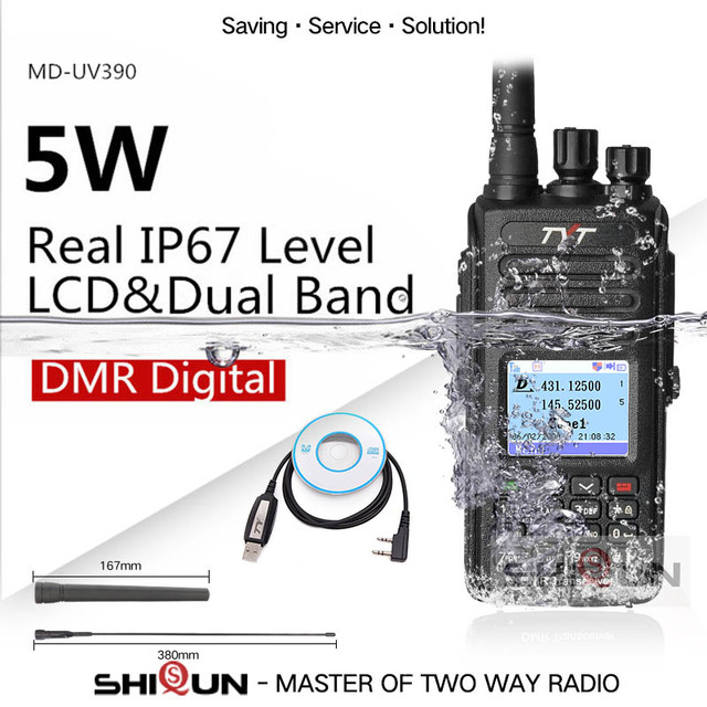 TYT MD UV390 DMR Radio GPS Waterproof IP67 Walkie Talkie Upgrade of MD 390 Digital Radio MD UV390 Dual Band VHF UHF TYT DMR 5W