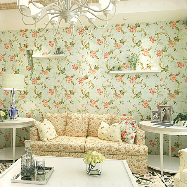 American Country Style Retro Wallpaper Pastoral Bedroom Covered Kitchen Design