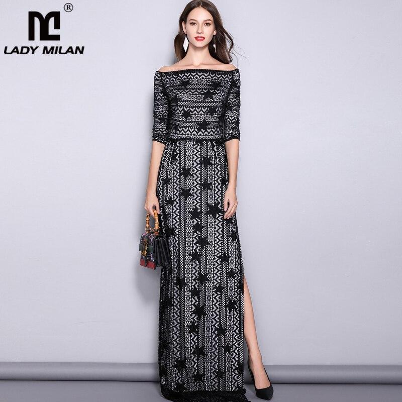 Women s Slash Neckline 3 4 Sleeves Off the Shoulder Embroidery Lace Split Elegant Party Dresses
