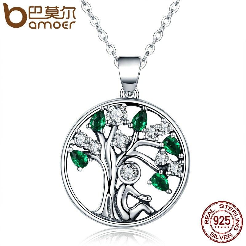 BAMOER Beliebte 925 Sterling Silber Verlassen Baum des Lebens Anhänger Halsketten Green CZ Frauen Modeschmuck Brincos Geschenk SCN094