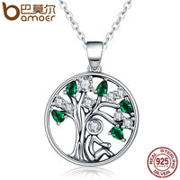 BAMOER Popular 925 Sterling Silver Rely Tree Of Life Pendant Necklaces Clear Grean CZ Women Fashion