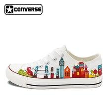 Оригинальный Дизайн Всемирный Путешествия тема различные достопримечательностям города ручной росписью обувь с низким берцем Converse All Star унисекс, парусиновая тапки