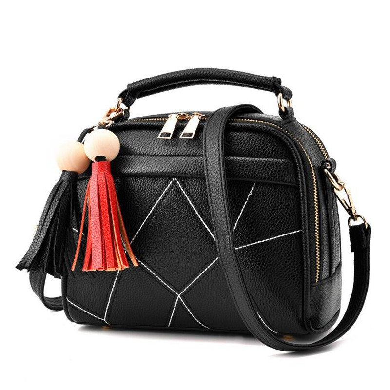 Brand Small Crossbody Bags for Girls Black Leather Messenger Bag Women Zipper Soft Tassel Bag Single Shoulder Bag Flap S930 xiyuan brand fashion red black brown color women girls zipper embroidered shoulder bag leather crossbody bags luxury for lady
