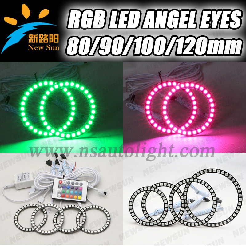 4pcs*120mm with rgb controller one set rgb angel eyes 12v 5050SMD 10000K super bright halo ring for any cars one set 4 pcs 95mm