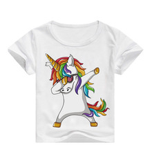 Dabbing Unicorn Cartoon Funny Boys T shirt Kids  Summer T-shirt Baby Girls Clothes 3-16 years old