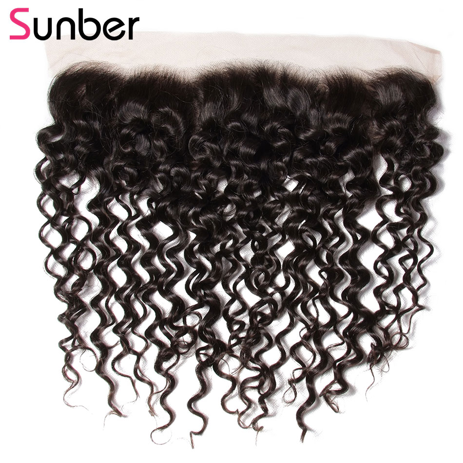 SUNBER HAIR Malaysian Curly Hair 13x4 Lace Frontal Remy Hair Free Part Pre Plucked Lace Frontal Ear to Ear 10-20 Inch