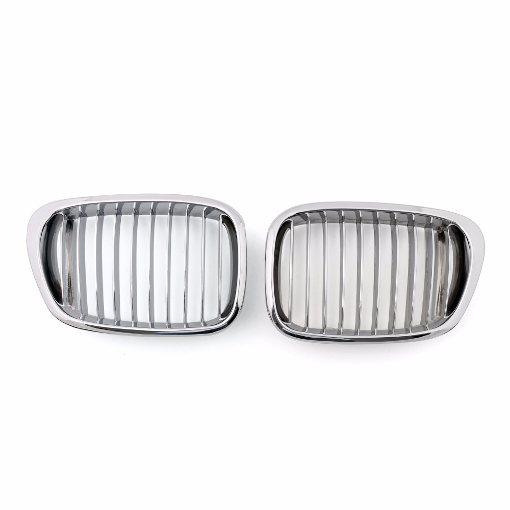 Areyourshop Car Front Kidney Grill Mesh Grille For BMW E39 1995-2003 5 Series Chrome 1Pair ABS plastic E39 Covers Auto Parts 10th front bumper grill abs material middle grille racing grills type r grill mesh case for honda civici 2016 2017