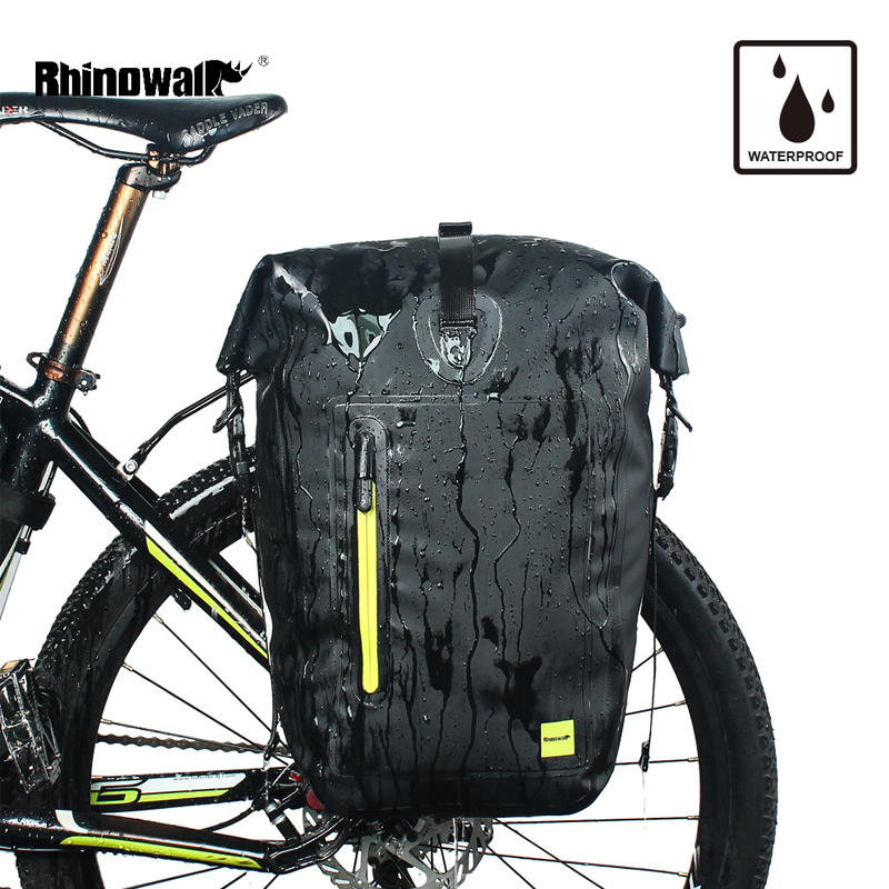 RHINOWALK 25L Waterproof Bicycle Panniers MTB Bike Packing Rear Rack Side Trunk Bag Cycling Back Seat Travel Luggage Bags Case