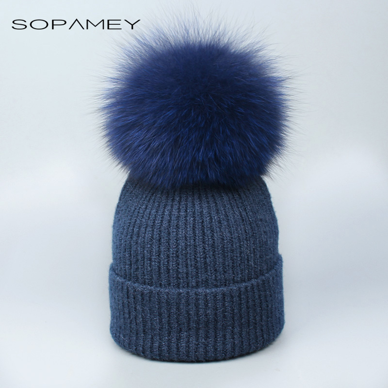 Real Fox Fur pom poms ball Skullies Beanies Keep Warm Winter Hat for Women Child Girl 's Wool Hat Knitted cap thick female cap 2017 new fur ball cap pom poms keep warm winter hat for women girl s hat knitted beanies letter brand new thick female capm 003