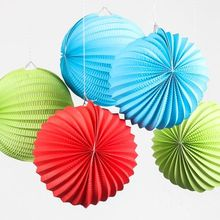 New Arrival 10pcs 19cm Pleated Paper Lanterns Party Decoration Hanging Accordion Wedding Baby Shower Festival Supplies