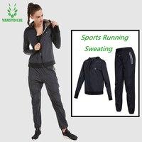 Vansydical куртка для бега Штаны комплект Похудение потливость спортивные костюмы мужские женские спортивные костюмы для йоги школа пот Спорти