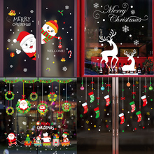 1pcs Merry Christmas Wall Stickers for Home Decoration New Year DIY Scrapbooking Santa Claus Elk Glass Sticker