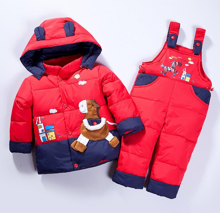 2017 Children boys girls winter warm down jacket suit set thick coat+jumpsuit baby clothes set kids jacket animal Horse fish new free shipping 2015 winter coat baby clothing set children boys girls warm down thicken jacket suit set baby coat