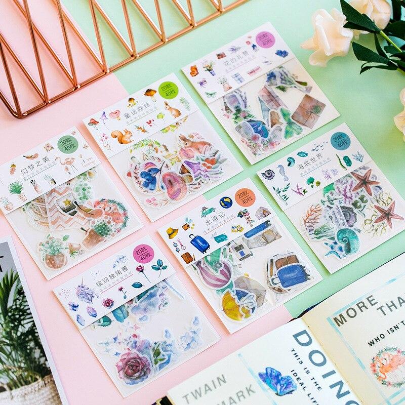 40pcs/Bag Cute Flower Unicorn Sea Creatures Paper Decorative Stickers Hand Account Notebook Decor Stick Label