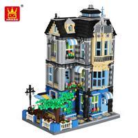 Wange 6310 Creator series the garden coffee house Model Building Blocks Diamond Bricks Classic Architecture Toys for children