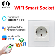 Wall Socket Wifi Plug Compatible With Amazon Alexa Google Home  EU Plug WIFI Smart Power Socket Outlet Panel Home Improvement wall socket home security alexa compatible surge protection zigbee home automation solution smart metering plug