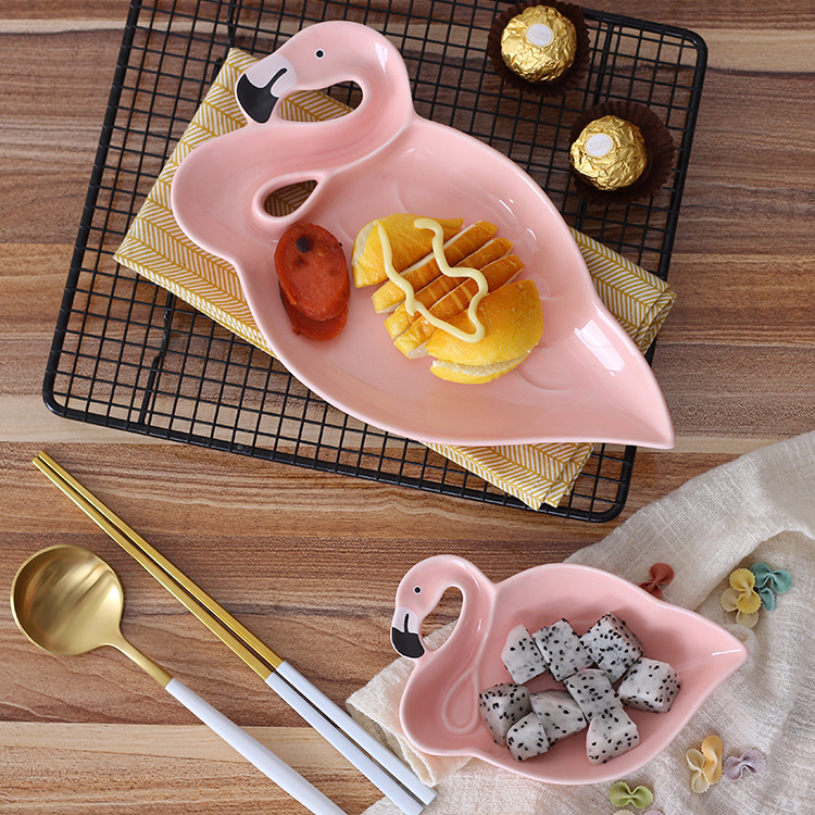 Creative 3D Pink Flamingo Ceramic Plate Dishes Snacks Dried Fruit Plate Dessert Plate Dinnerware Crockery Decorative Plate