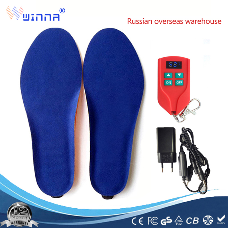 New 2000mAh Wireless Heating Insole Winter Warm Shoes Insoles Remote Control Battery Charging Heated Insoles Size
