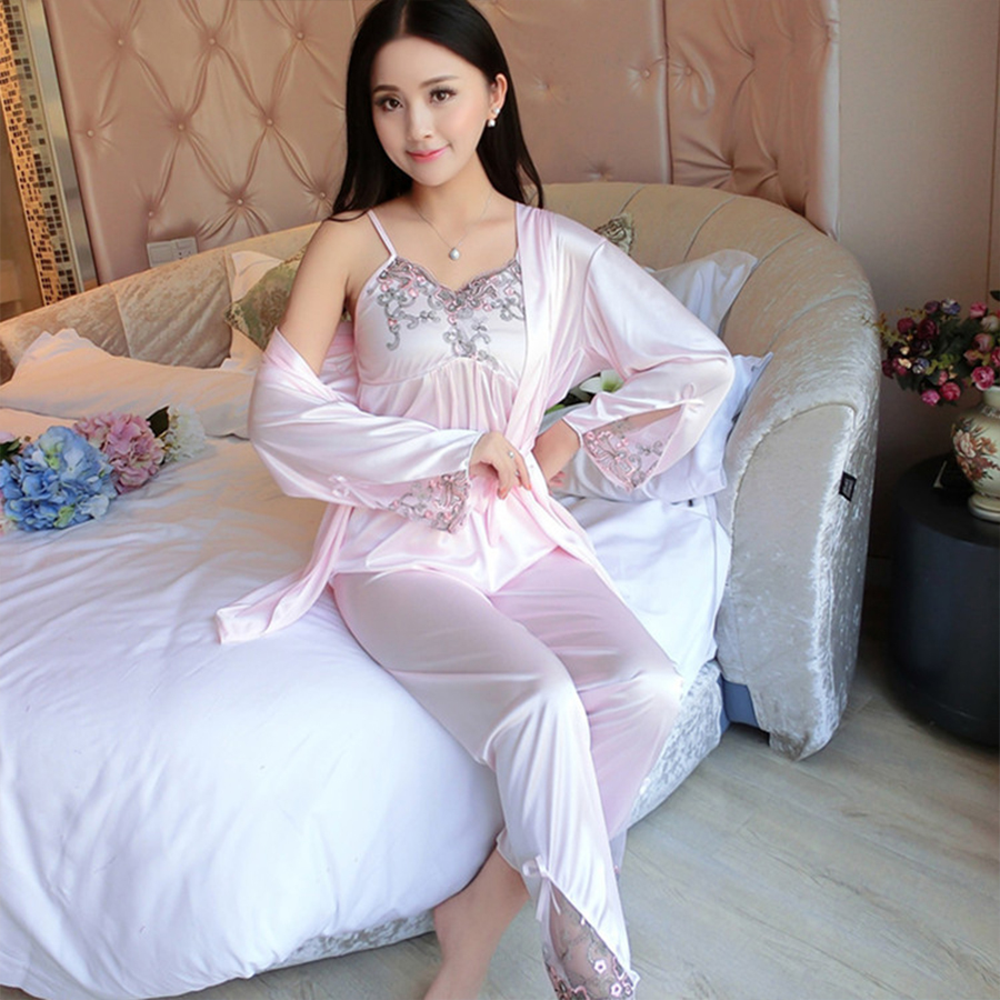 Summer Satin   Pajama     Set   Women Soft Silk 3   Set   Lace Transparent Tops Sexy Sleepwear For Ladies Spaghetti Strap 3 Piece Nightwear