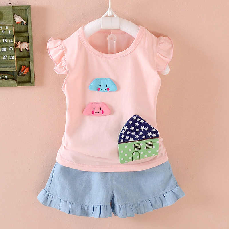 c2c0846e0a9be 2018 Baby girls summer clothing sets infants vest clothes set top+shorts  toddler sports suit set clothing