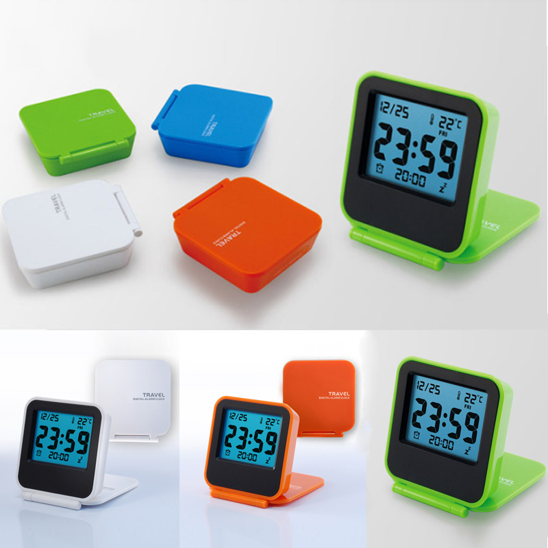 Mini Portable Flip Cover Travel Electronic Watch LED Digital Muted Multifunction Thermometer With Batteries Luminous Clock