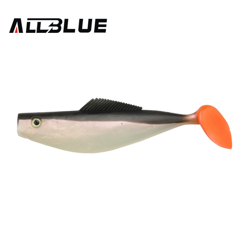 ALLBLUE  20cm Monster Shad Soft Bait Fishing Lure 3D Eyes Soft Silicone Baits 7.9 in Twister Paddle Swimbaits Plastic Lure Pasca mix color package on soft lure 15 cm shad bait soft bait for boat fishing