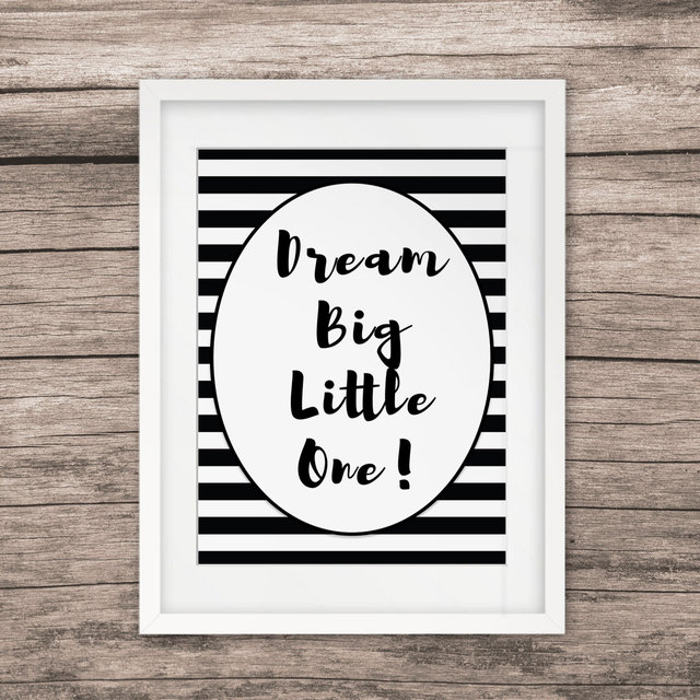 Dream Big Little One Nordic Black White Art Print Dream Painting ...
