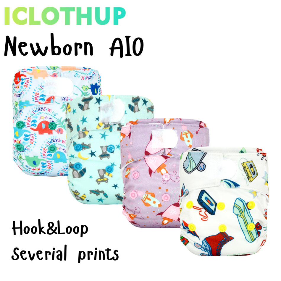ICLOTHUP Newborn AIO Cloth Diapers Nappy,3 Layers Of Micro Fiber Sewn Inside Insert,Waterproof PUL Outer,Microfleece Lining