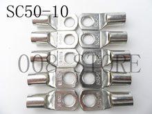 5 pces 20 pces estanhado cobre lug terminais de compressão tipo conector 50mm 1/0 awg m10 parafuso prisioneiro SC50-10