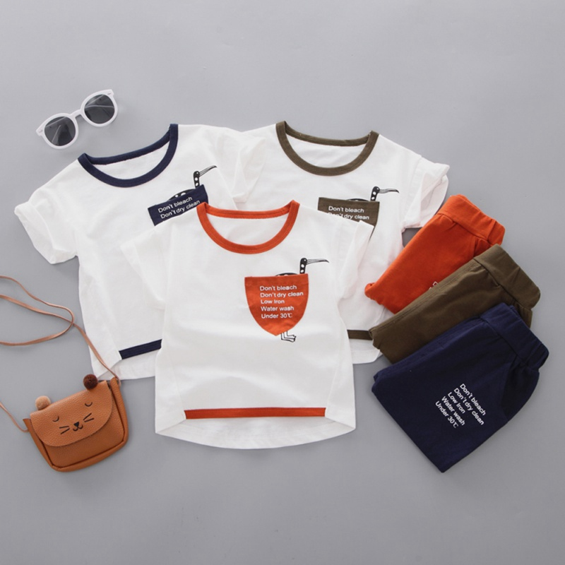 Summer Casual Baby Boy Cotton Cartoon Letter Short Sleeve + Pant Kit Kids Two-piece Outfit Set Clothes 0-4Y