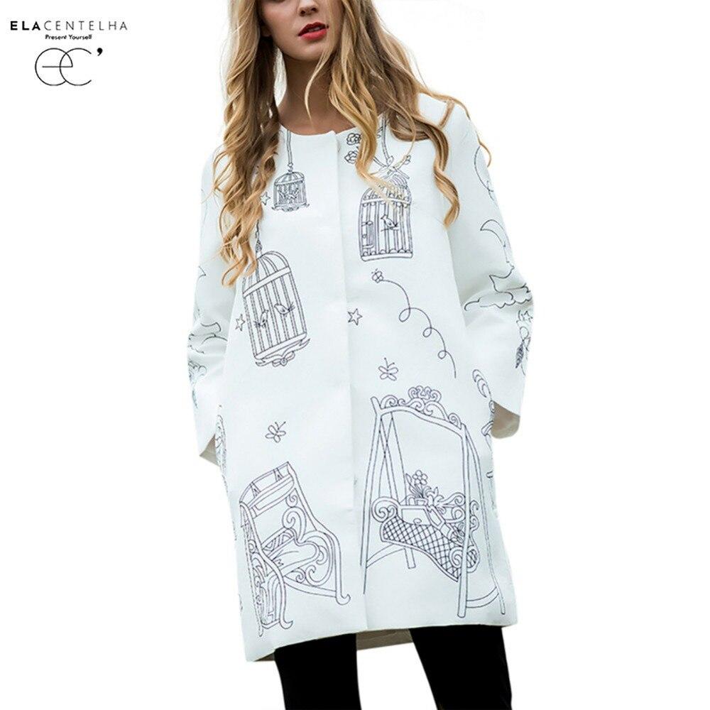 ElaCentelha Women Coats Runway Trench Coat Autumn Winter Women s High Quality Printed O Neck Long